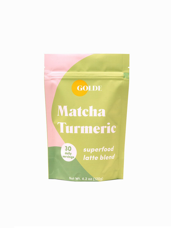 Light green and pink packaging for Matcha Turmeric by brand Golde