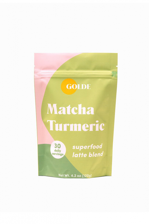 Matcha Turmeric superfood latte blend. Size 4.2oz bag. Light green and pink packaging.
