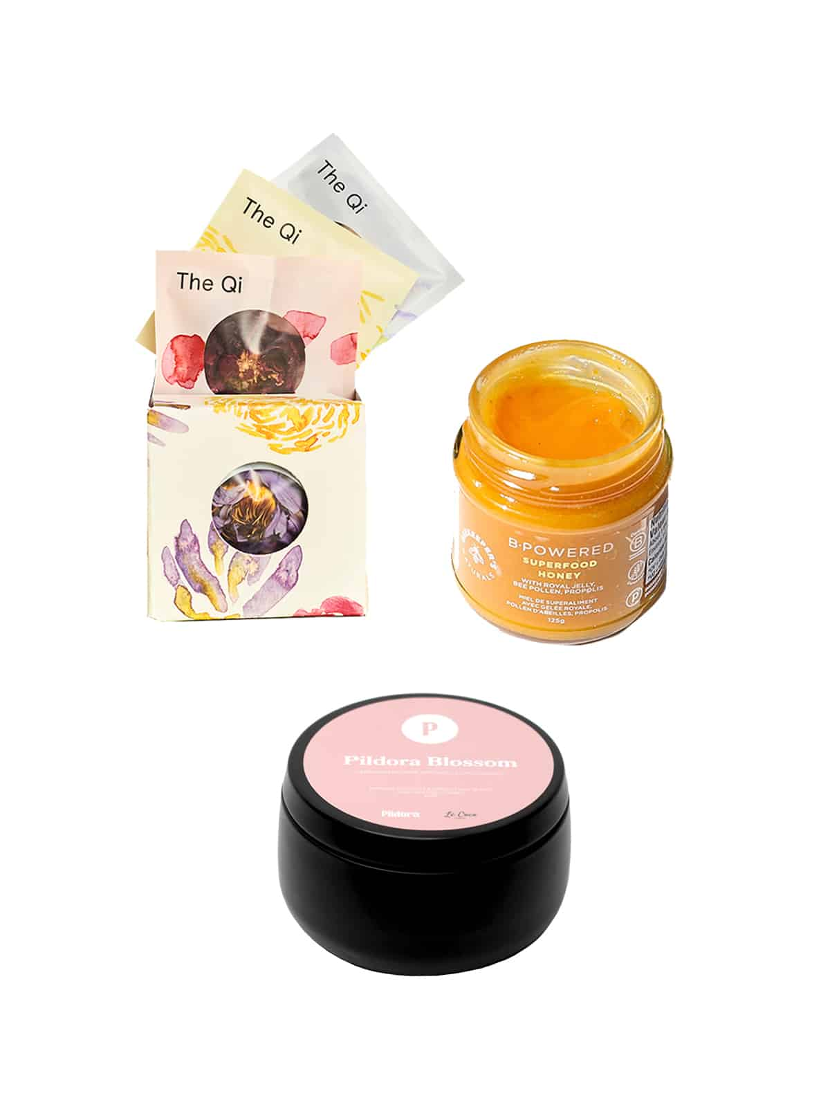 Afternoon Relax Routine Clean Kit with Pildora Blossom Candle, honey, and tea tasting collection