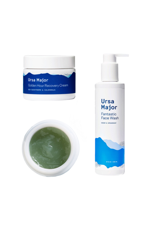 Skincare starter clean kit with ursa major face wash, 3 minute flash mask, and golden hour face cream